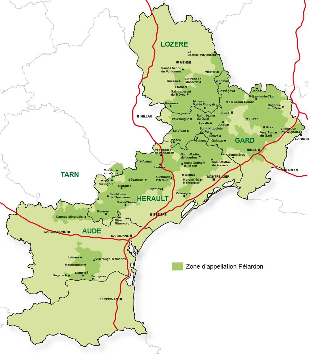 Zone géographique AOP Pélardon